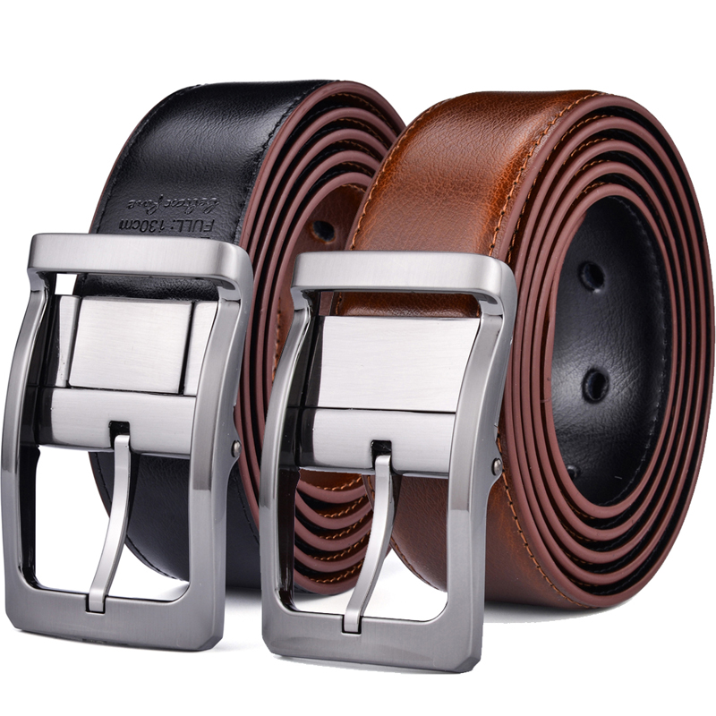 Reversible Leather Belt - Casual for Mens Jeans with Double Sided Strap leather belt