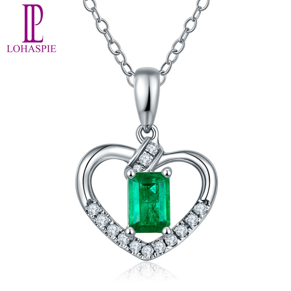 Lohaspie diamond jewelry solid 18k white gold natural precious lohaspie diamond jewelry solid 18k white gold natural precious gemstone emerald heart pendant fine jewelry for may birthday gift in pendants from jewelry aloadofball