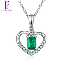 Lohaspie Solid 18K White Gold Natural Precious Emerald Diamond Heart Pendant Necklace For Women S Gemstone