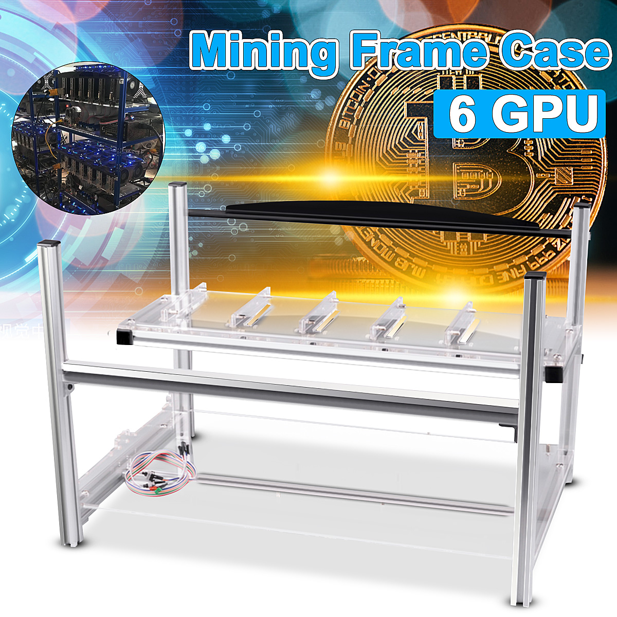 DIY Aluminum Frame Case For 6 GPU Mining Crypto-currency Mining Machine Rigs Miner Frame Case Server Chassis
