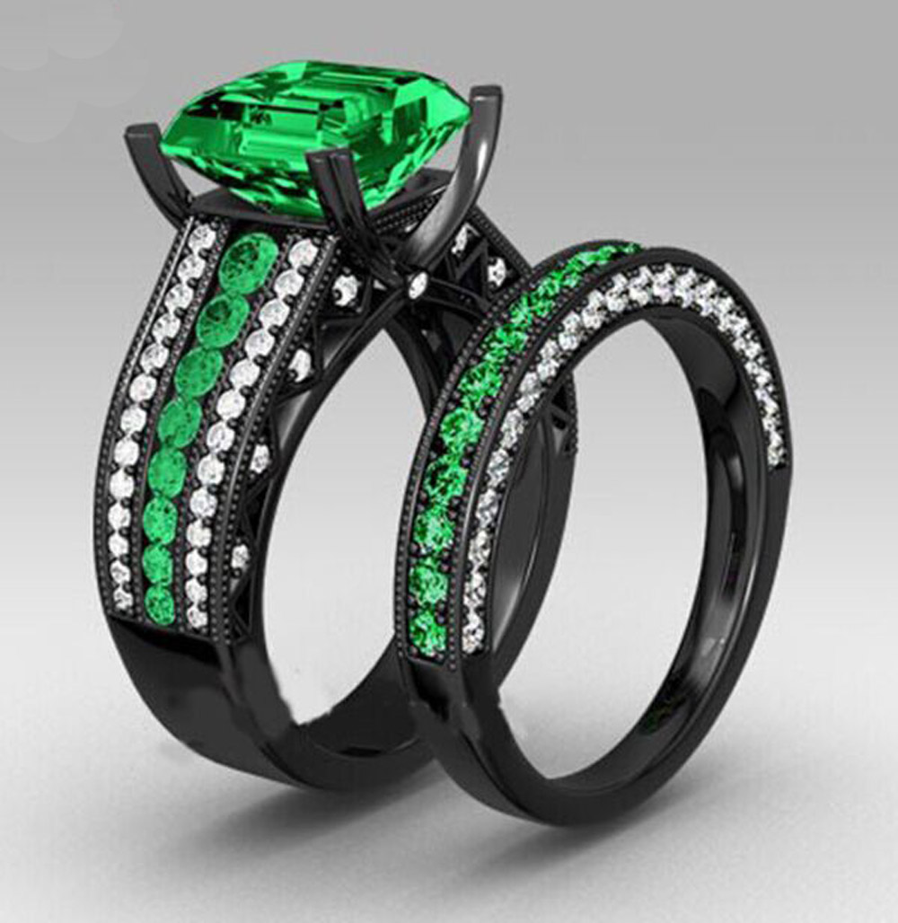 Yayi Fashion Women's Jewelry Couple Ring Green Cz Black Engagement Rings  Wedding Rings Party Rings Gift