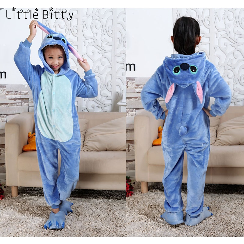 cartoon blue stitch blanket sleeper baby animal pig tiger spiderman dinosaur owl giraffe kigurumi kids girls boys pajamas silk