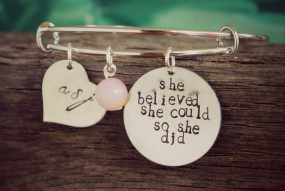 2017 New Arrival Custom Any Name or Message Heart And Pink Pearl Charm Bracelet ,Best Birthday Gifts Friendship Bangles