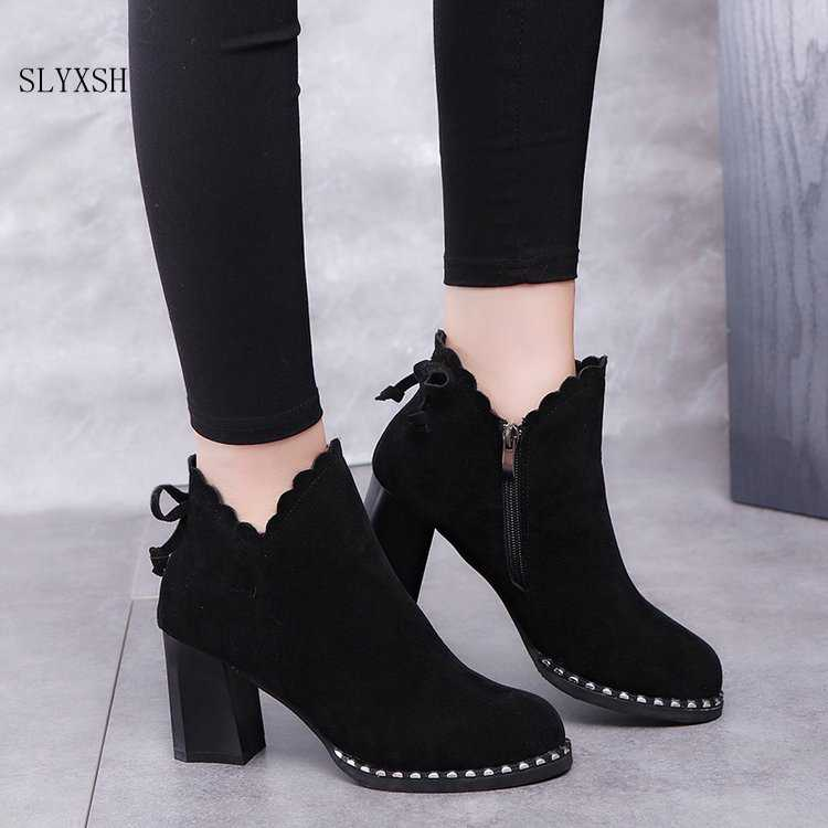 SLYXSH Women casual warm pumps Ankle  Boots shoes Autumn Winter Sexy Women Bow high heels  Boots women