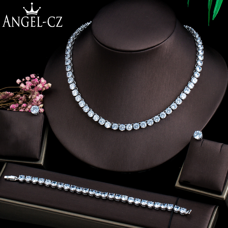 ANGELCZ Luxurious Bridal 3Pcs Jewelry Sets for Women 6mm Big Round Cubic Zirconia Wedding Choker Necklace Bracelet Earring AJ165