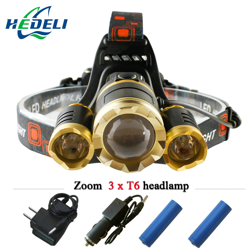 3 CREE XM L T6 led headlamp headlight <font><b>10000</b></font> lumens led head lamp camp hike emergency <font><b>light</b></font> fishing outdoor equipment