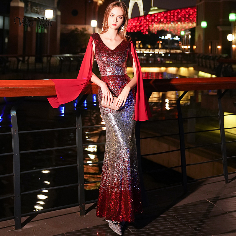 weiyin Red   Evening     Dresses   Long 2018 Sexy V-neck Sleeveless Sparkle Mermaid Sequin   Evening     Dresses   Gowns WY941