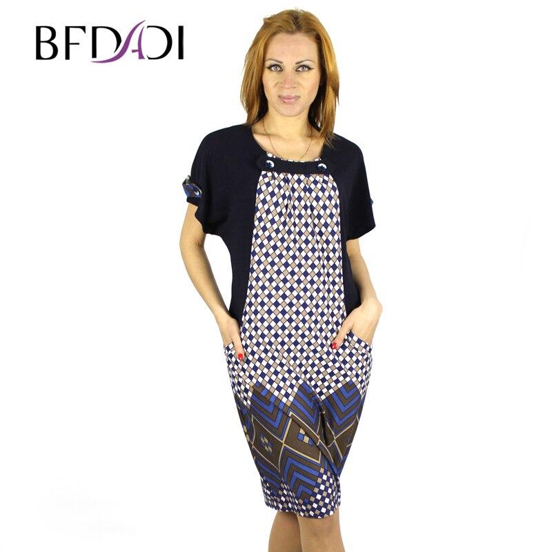 d85c137f91 Bfdadi wysokiej jakości nietoperze rękaw luźny styl krata dress dady  zabytkowe projektowania mody szczupłe kobiety letnie sukienki 9670