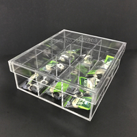 Household storage box acrylic tea bag box with nine compartments