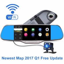 Newest Map 7″ Car DVR Mirror Dual Lens 64GB A33 CPU Quad Core Android 4.4 Rear view HD 1080P Car DVR Support WIFI GPS