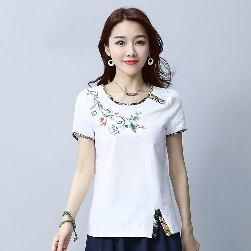 Embroidery women sweet floral embroidery T shirt o neck short sleeve black tees ladies summer casual brand tops camisetas 35