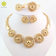 Vintage Women Clear Crystal Hollow Patterns Gold Color African Dubai Bridal Wedding costume Jewelry Sets