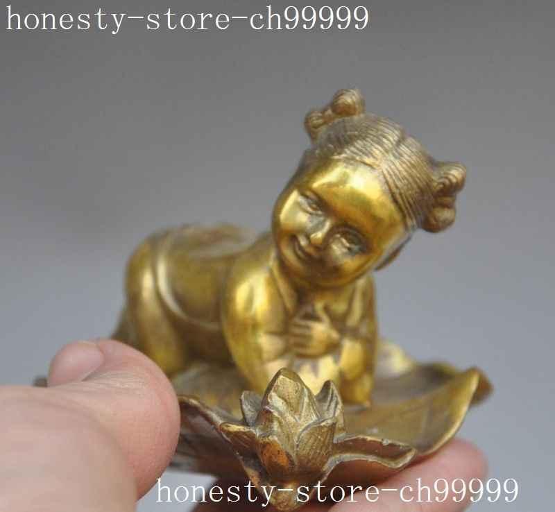 Estatua de flor de las hojas de loto acostado de las muchachas pequeñas de latón de folklórico de China de Navidad halloween