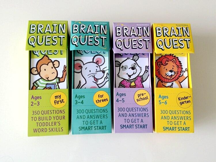 Drôle éducatif cerveau Questions anglais préscolaire maternelle enfants bébé cartes livre Parent enfants jeux 4 pièces ensemble mkd2