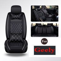 PU Leather Car Seat Covers Solid Gray Fit Driver, Child, Baby Chair For Geely Emgrandgt Gx7 Gc7 Ec7 Rs Gc213 Rv