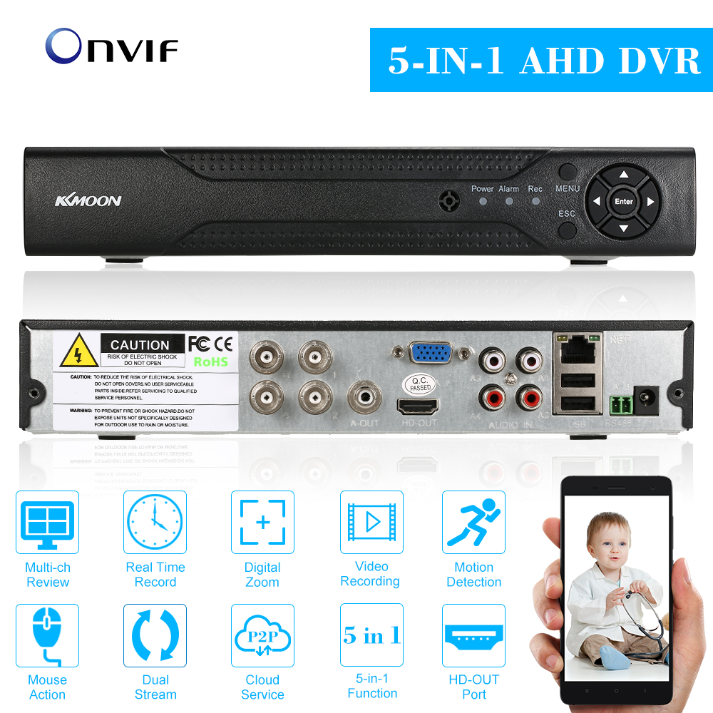 KKmoon 4CH 1080P Hybrid AHD TVI CVI DVR P2P Cloud Network Digital Video Recorder