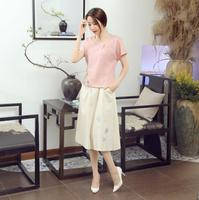 Female Pink Casual Loose Cotton Linen Blouse Chinese Women S Short Sleeve Shirt Flower Top Clothing