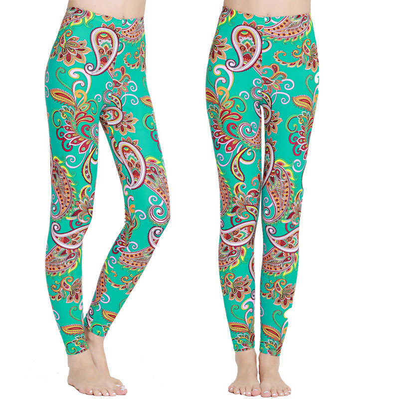 2017  Full Length Leggings  Printed Stretchy Footless Woman Running Swimming Tights Fitness Pants Funky Pattern  for Women Лосины