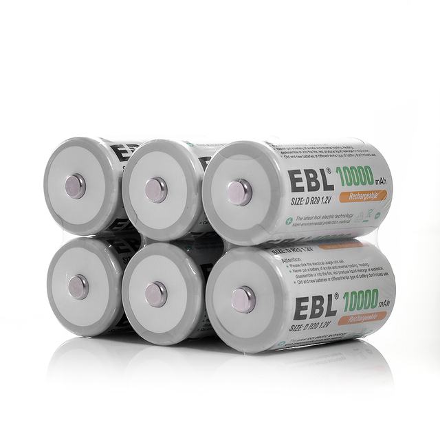 8pcs/lot EBL Type D Battery 10000mAh + Battery Charger for AA/AAA C D Size Ni-MH Ni-CD Rechargeable Battery Universal