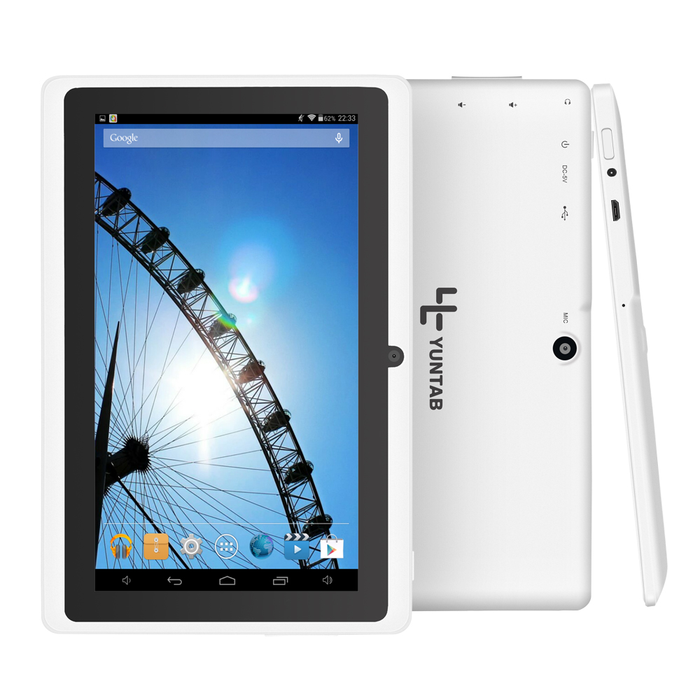 Prix bas! Yuntab 7 Pouce Tablet Q88, Android Tablet PC, Allwinner A33 Tablet, Quad Core Tablet 1.5 Ghz Double Caméra Wifi Externe 3G