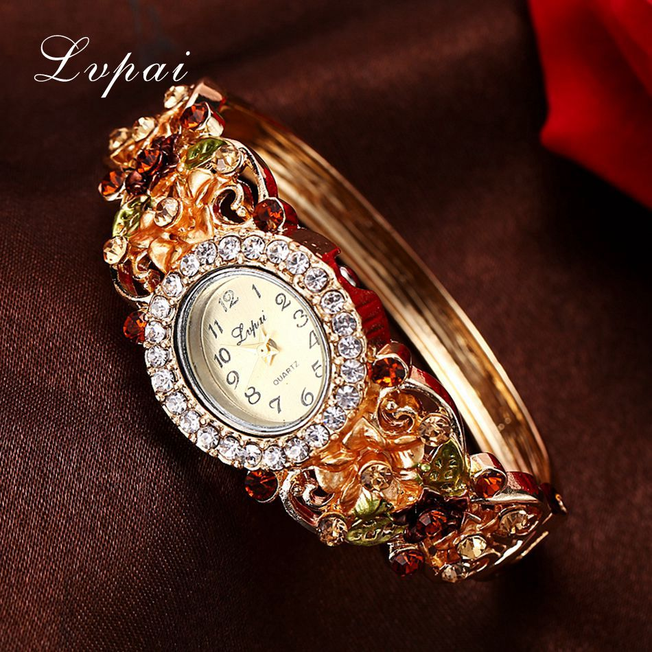 Lvpai Brand Women Dress Watches Vintage Flower Pattern ...