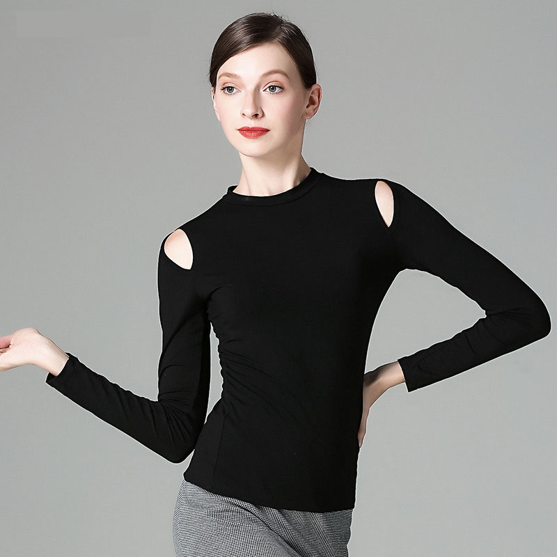 Modal Cutout Long Sleeve Sexy Latin Dance Top for Women/female, Ballroom Tango Costume Performance Wear MD7229