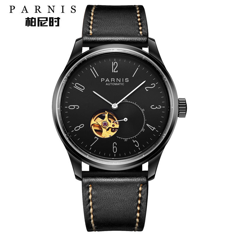 42mm Parnis Black Dial PVD Case Leather strap Luxury Brand Top Hot Fashion Miyota Automatic Movement men's Watch romantic 42mm parnis black dial luxury brand ss case valentines date leather miyota automatic movement men s business watch
