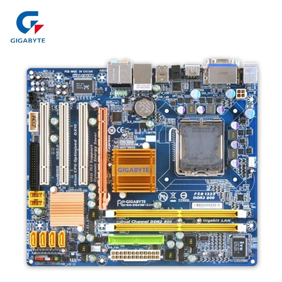 Gigabyte GA-EG41M-S2H Original Used Desktop Motherboard EG41M-S2H G41 LGA 775 DDR2 SATA2 USB2.0 Micro-ATX gigabyte ga g41m es2l original desktop motherboard lga 775 ddr2 g41m es2l g41 micro atx board mainboard free shipping