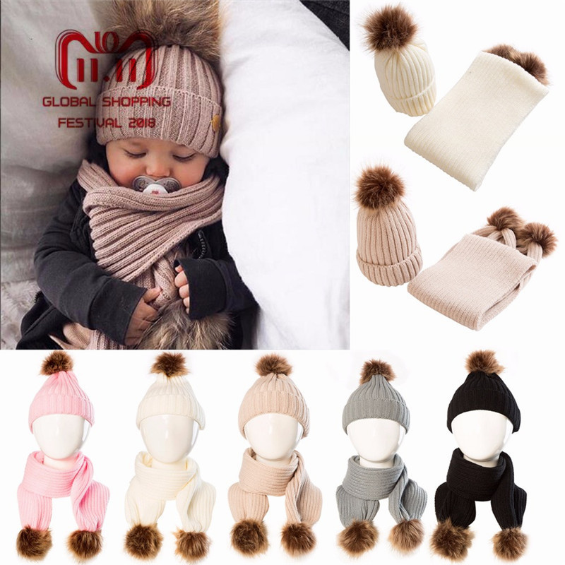 Puseky Winter Warm 2 pcs/set Baby Cute Soft Knit Crochet Fur Ball Hat Infant Baby Bonnet Beanie Cap And Scarf Neck Warmers Suit infant winter warm knit crochet caps baby beanie hat toddler kid faux fur pom pom knit skullies ski cap 0 3 years