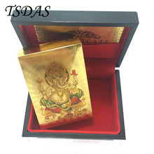 Colored India God Pattern Playing Cards 24k Gold Plated Full Poker Deck With Wooden Box Christmas Gift Drop Shipping