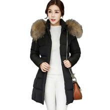 Removable Fur collar Cotton Padded parkas Winter Women Thicker overcoat New 2017 Warm Slim Outerwear Hooded Female Long Coat XC1