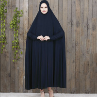 Quality Abaya Muslim Dress Prayer Hijab Dress 16 Colors Highly Elastic 4XL Prayer Robe With Hijab Set