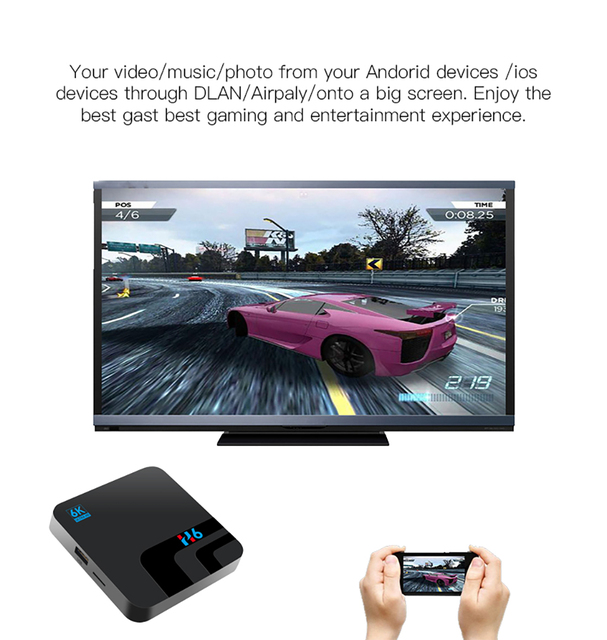 6K Transpeed Android 8.1 Smart TV BOX Allwinner 2G DDR3 16G EMMC ROM Set Top Box 6K 3D H.265 Wifi media player TV Receiver play