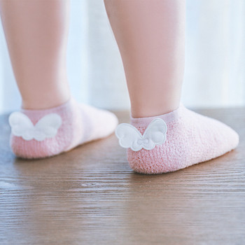 Baby Anti Slip Socks Newborn Baby Socks for Girls Coral fleece Angel Wings Short Floor Socks Solid Infant Clothing Accessories 1