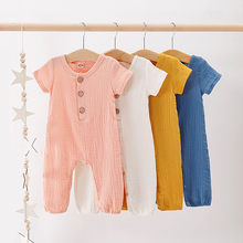 Infant unisex Baby Boys & Girls Clothes Summer Short Sleeve Ruffles Solid Linen Romper Jumpsuit For Newborn Baby Kids Playsuits(China)