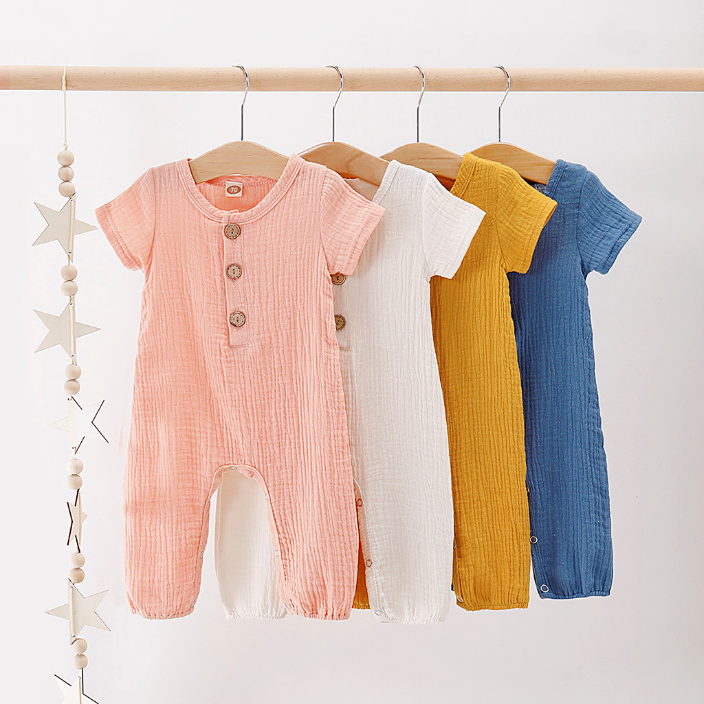 Infant unisex Baby Boys & Girls Clothes Summer Short Sleeve Ruffles Solid Linen   Romper   Jumpsuit For Newborn Baby Kids Playsuits