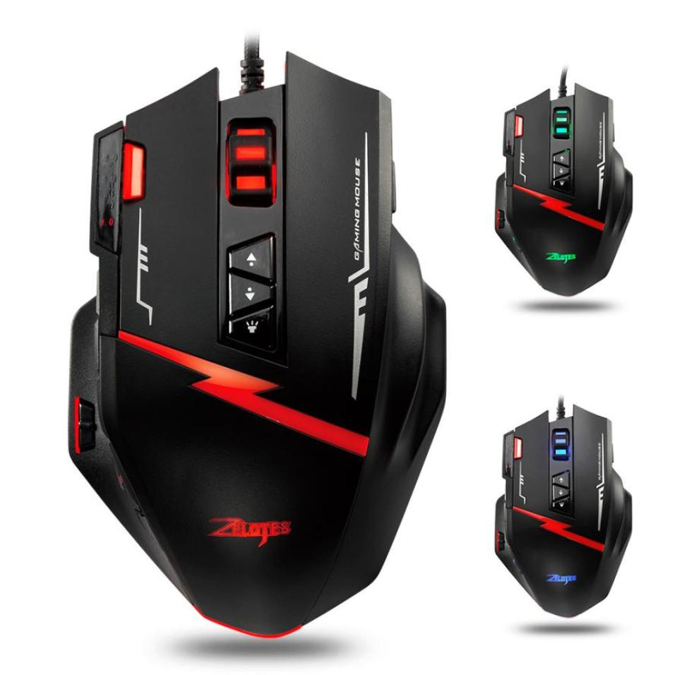 Zelotes C15 Gaming Mouse 7000 DPI 13 Programmable Buttons Weight Tuning Cartri Gaming Mouse Muis Draadloos # ZC