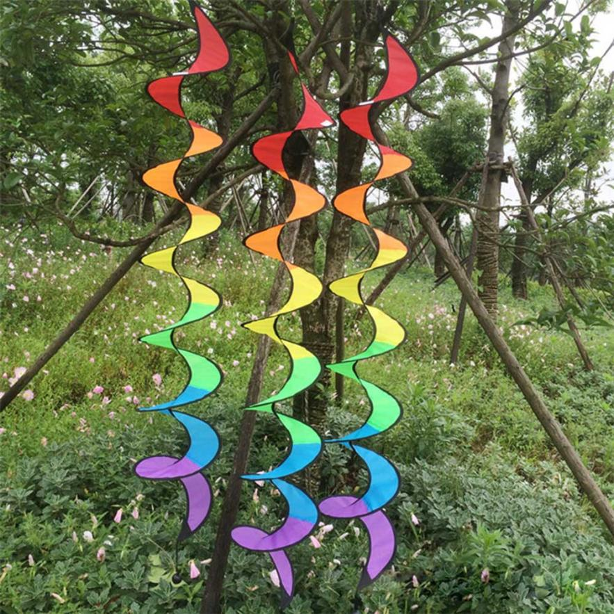1PC Rainbow Spiral Windmill Tent Colorful Wind Spinner Garden Home Decorations survival tool camping kamp malzemeleri #25