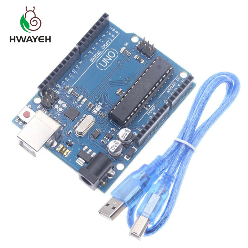 Igh qualidade um conjunto uno r3 caixa oficial atmega16u2 + mega328p chip para arduino uno r3 placa de desenvolvimento + cabo usb