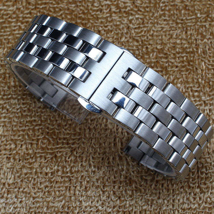 New Mens High Quality Watch band 18mm 20mm 22mm 24mm Metal Stainless Steel Watchband BANDS Strap Bracelets Double Push Clasp new mens genuine leather watch strap bands bracelets black alligator leather 18mm 19mm 20mm 21mm 22mm 24mm without buckle