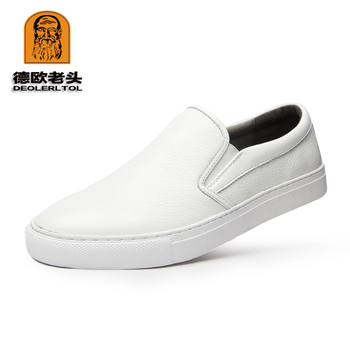 2019 Hot Men's Genuine Leather Casual Shoes Size 44 Head Leather Soft Man White Shoes Autumn Leisure Leather Loafers