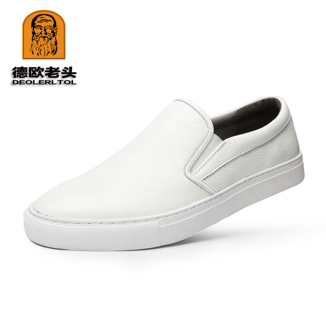 fd4b767d82d 2017 Hot Men s Genuine Leather Casual Shoes Size 44 Head Leather Soft Man  White Shoes Autumn Leisure Leather Loafers
