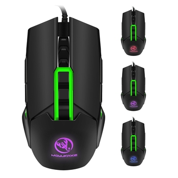 HXSJ S400 Backlit Gaming Mouse Mechanical Macros Define Wired Mice 3200DPI 9 Key USB Left Right Hand Dual-use Mouse For PC