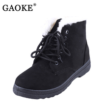2018 New Fashion Women's Winter Short Boots Sheepskin Thickened Fur Shoes Keep Botas Mujer Lace Up Flock Warm Ankle Snow Boots