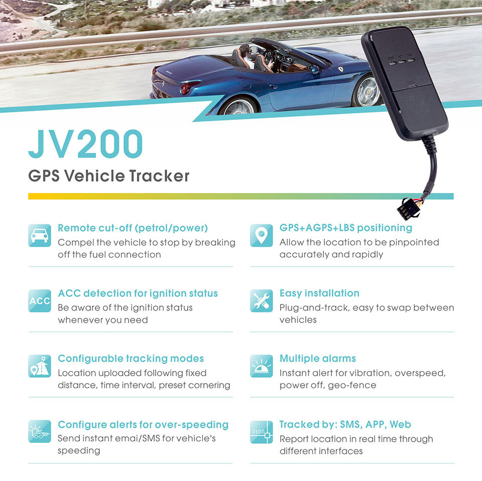 US $29 99 10% OFF Concox JV200 Mini Car GPS Tracker GPS+AGPS+LBS  Positioning GPS Locator With 270 mAh Battery Tracking By SMS APP Web  Tracker-in GPS