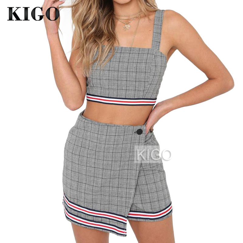 7f50e76bd Summer Womens Sleeveless Two Piece Set 2018 Vintage Plaid 2 Piece Set  Outfits Sexy Women Crop Top and Mini Skirt KF1944H