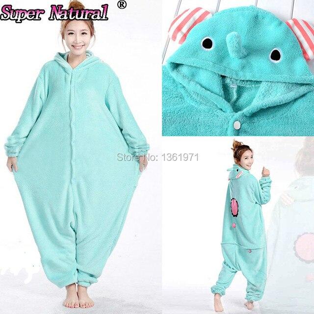 HKSNG Women Girls Adult Winter Animal Mouton Kigurumi Pajamas Sentimental  Circus Onesies Blue Elephant Cosplay Kawaii Japanese 57c1d155e6c7f