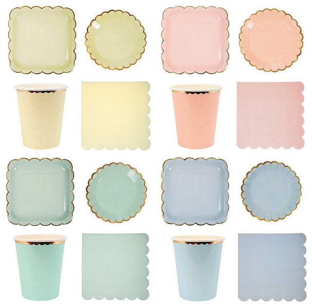 Pastel Pink Yellow Blue Mint Gold Foil Paper Tableware Party Napkins Paper Plates Cups Wedding Shower  sc 1 st  AliExpress.com & Pastel Pink Yellow Blue Mint Gold Foil Paper Tableware Party Napkins ...