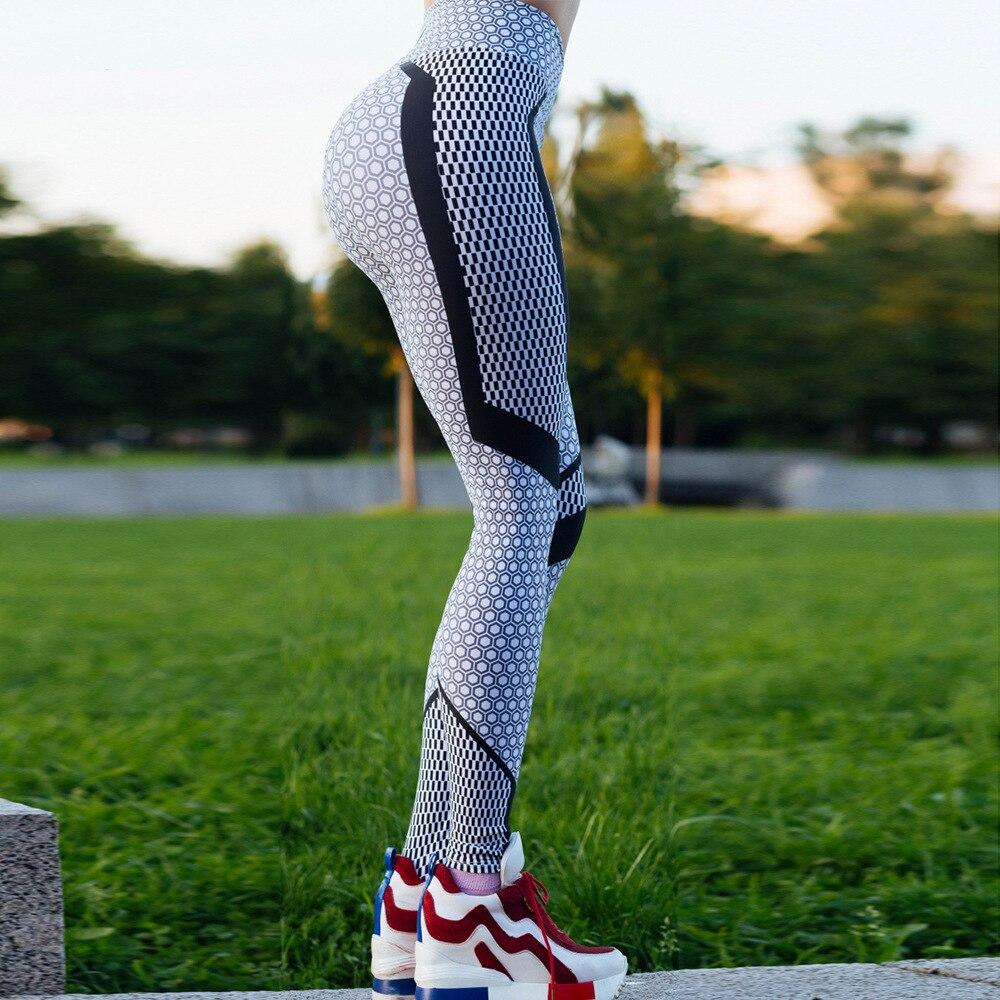 2018 Nouveau Noir Et Blanc Nid D'abeille Imprimé Femmes Leggings Taille Haute Pantalon de Push Up Fitness Leggings Élastique Mince Jeggings