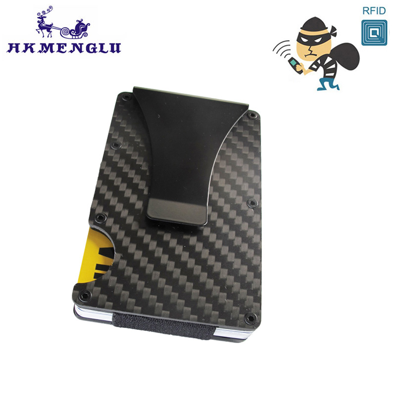 Carbon Fiber RFID Mini Slim Wallet Money Clip Metal Aluminum Business Credit Card ID Holder With Anti-chief Case Protector teemzone carbon fiber metal rifd wallet mini money clip stretch credit card id holder with rfid anti chief card case wallet k394